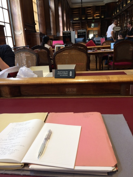 My note-taking station in the Salle de Manuscrits (Manuscript Room) at the BnF..